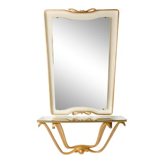 1945 Italian Mid-Century White And Gold Painted Mirror And Console by Osvaldo Borsani For Sale