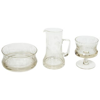 Set of Victorian Glass Serving Pieces For Sale