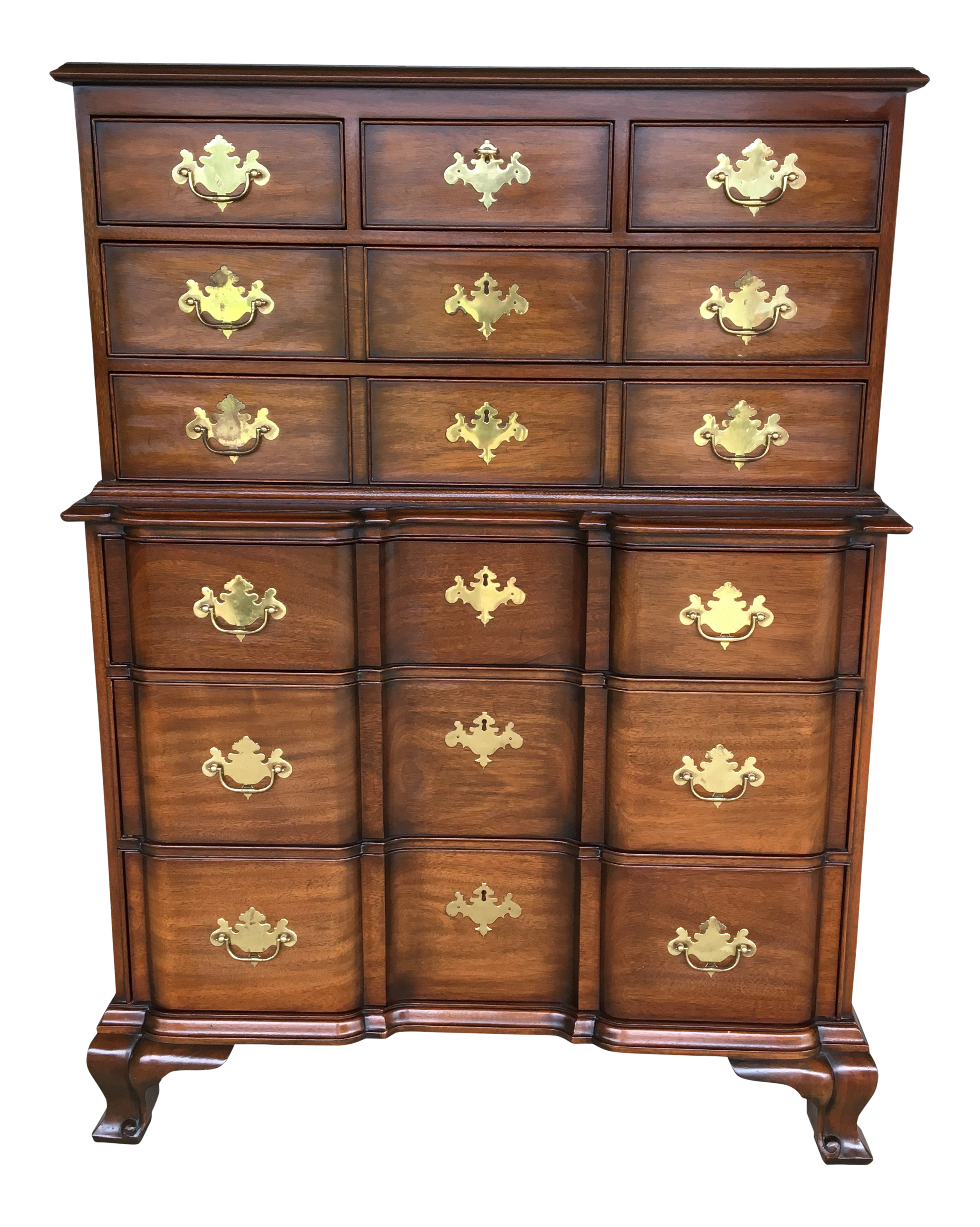 Bon Kindel Furniture Chippendale Style Mahogany Block Front Chest On Chest