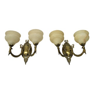 Two Light German Brass & Alabaster Sconce - Pair For Sale