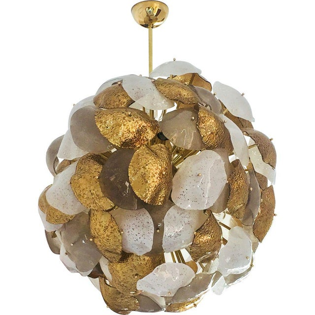 Modernist Italian Gold Silver White Scavo Murano Glass Round Leaf Chandelier For Sale - Image 9 of 9