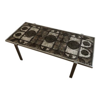 1960s Uncommon Dyrlund / Ox Art Tile Top Coffee Table For Sale