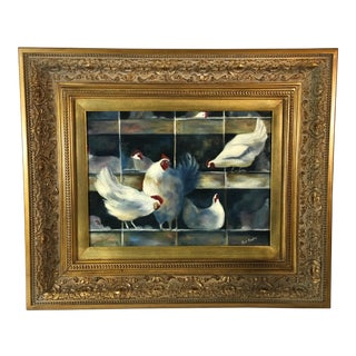 Contemporary Chicken Oil Painting For Sale