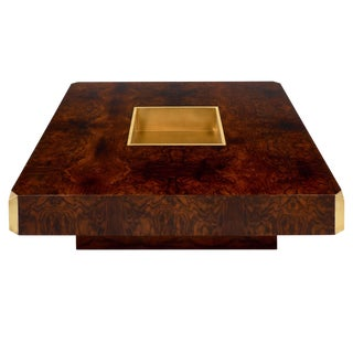 Brass and Burled Walnut Coffee Table