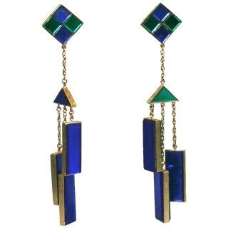 Trifari Mirror Tile Mod Mobile Earrings For Sale