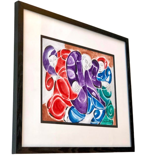Abstract Mid-Century Modern Three Figures Painting For Sale - Image 3 of 12