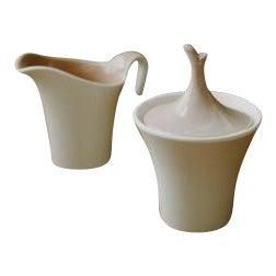 Minimal Ceramic Cream and Sugar Set For Sale