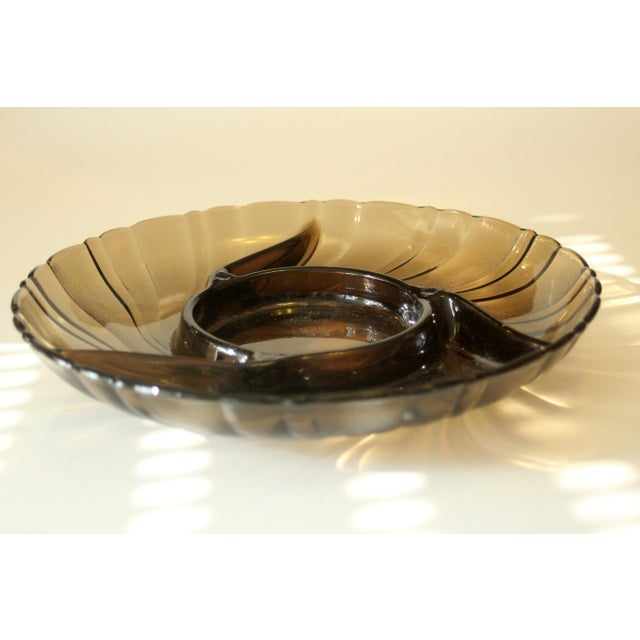 "Vintage smoked glass trinket bowl, comes direct from the 1970s, in very good vintage condition diameter 9.45"" - height..."