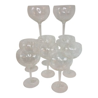 Vintage Abigails Hand Blown Crystal Romanian Dimpled 14 Oz. Balloon Wine Glasses - Set of 8 For Sale