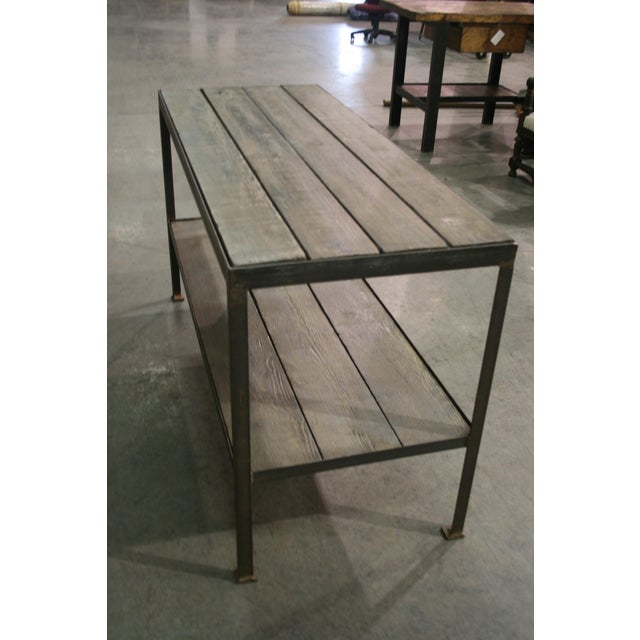 Industrial Mid Century Wood & Iron Work Table With Lower Shelf For Sale - Image 3 of 6