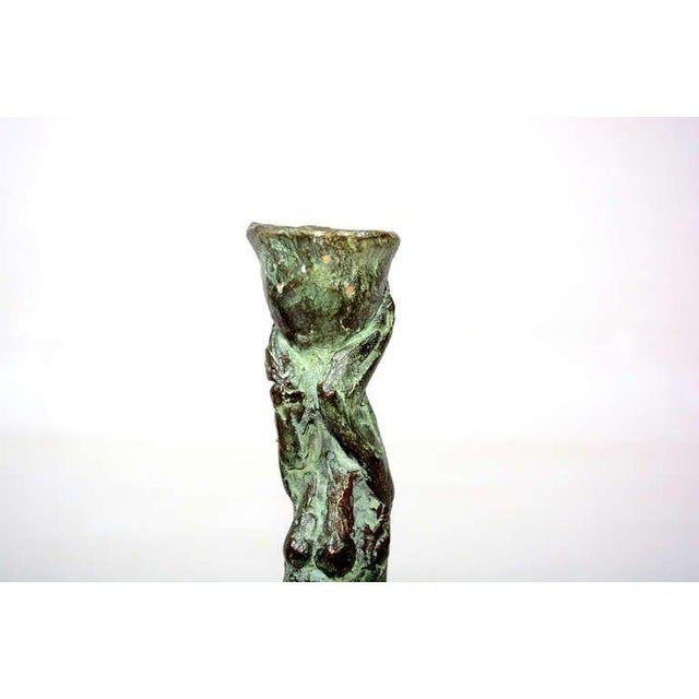 Pair of Mid-Century Modern Bronze Sculpture Holders For Sale - Image 9 of 10