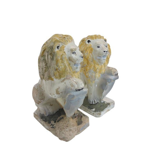 Concrete Painted Concrete Garden Lion Statues - a Pair For Sale - Image 7 of 9