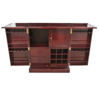 Traditional Expandable Solid Rosewood Bar With Hidden Cabinet For Sale