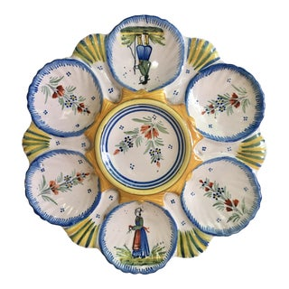 French Faience Oyster Plate Quimper For Sale