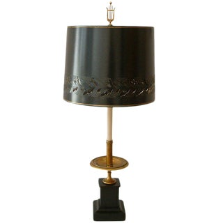 Circa 1950 Mid-Century attributed to Maison Jansen Bronze French Candle Table Lamp -1