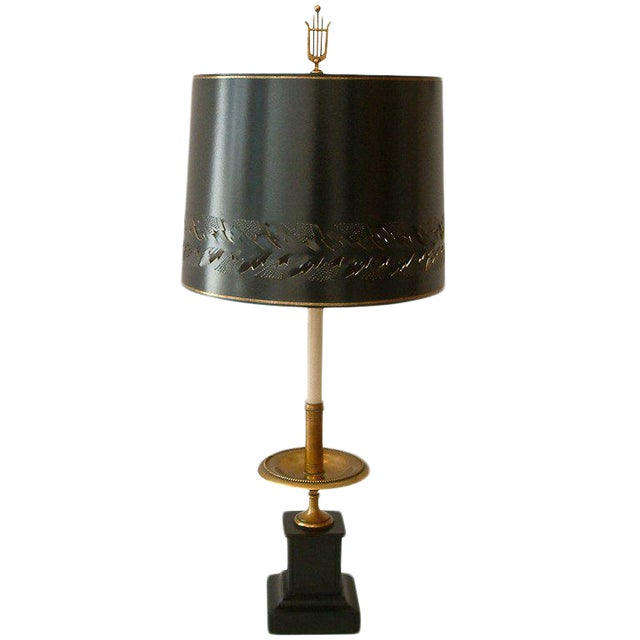 Circa 1950 Mid-Century attributed to Maison Jansen Bronze French Candle Table Lamp -1 - Image 1 of 9