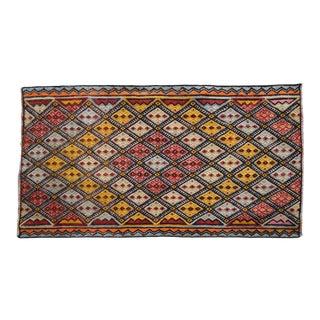 1970s Hand-Woven Braided Turkish Jajim Kilim Rug For Sale
