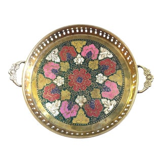 Petite Hand-Painted Brass Tray For Sale
