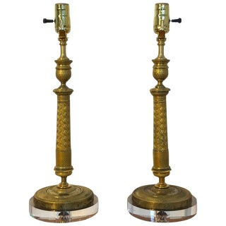 Pair of Charles X Ormolu Candlesticks, Now as Lamps For Sale