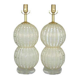 Murano Glass Ball Stacked Table Lamps White Gold For Sale