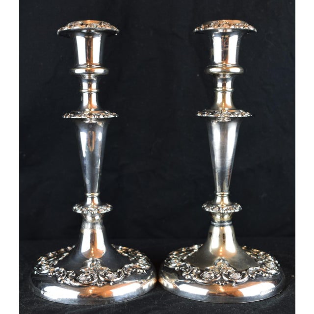 19th Century Victorian Floral Silver Plate Candlesticks - a Pair For Sale - Image 9 of 9