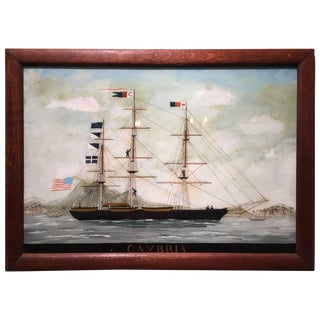 """Reverse Glass Painting of a Ship """"Cambria"""", 19th Century For Sale"""