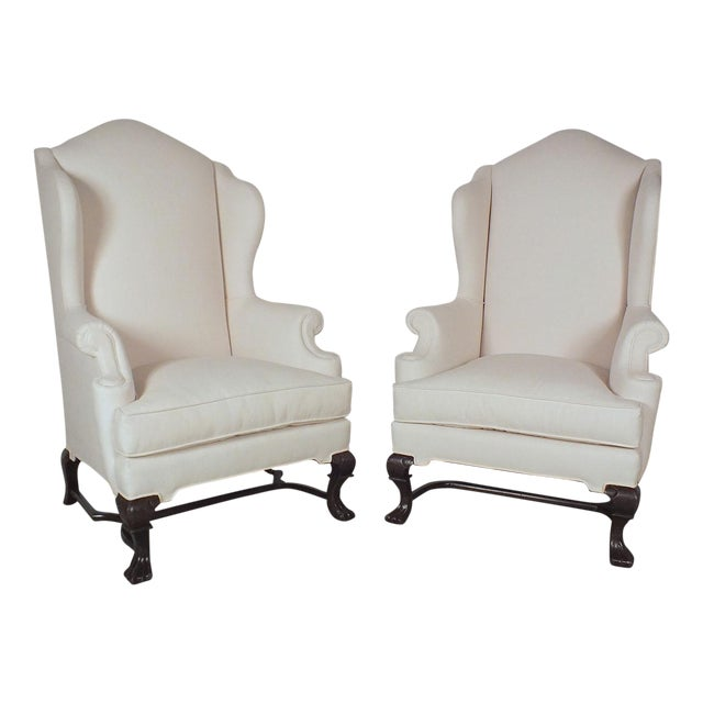 Traditional English Antique Wingback Chairs - Pair - Image 1 of 10