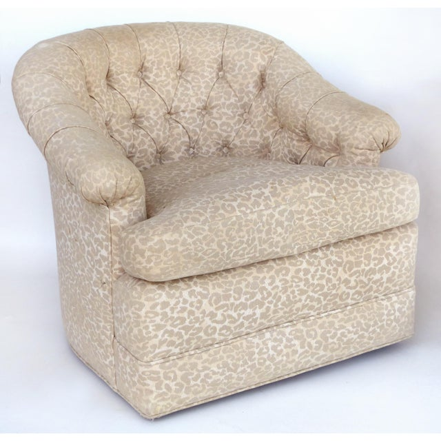 Regency Upholstered Swivel Club Chairs With Tufted Backs - a Pair For Sale - Image 3 of 8