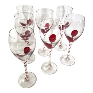 Modern Wine Glasses Red Accents Hearts, Clear Burgundy Holiday - Set of 7 For Sale