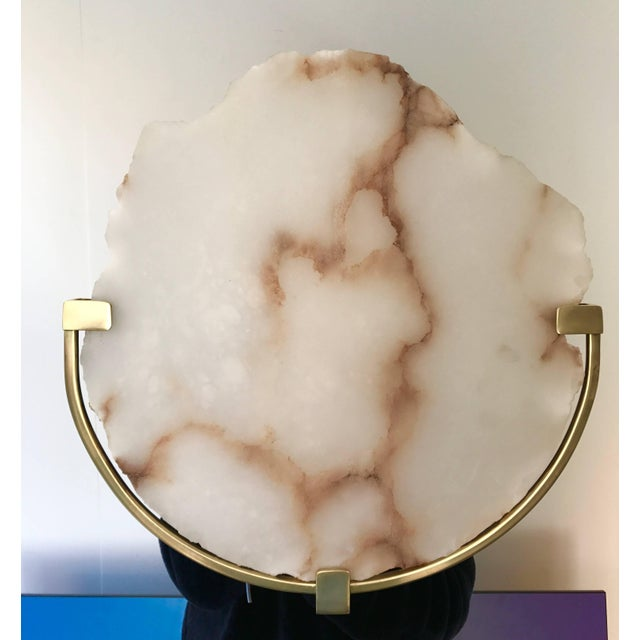 Metal Contemporary Pair of Sconces Alabaster and Brass. Italy, 2017 For Sale - Image 7 of 13