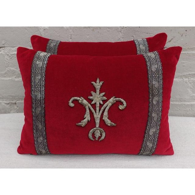 Custom Appliqued Red Velvet Pillows - A Pair - Image 2 of 4