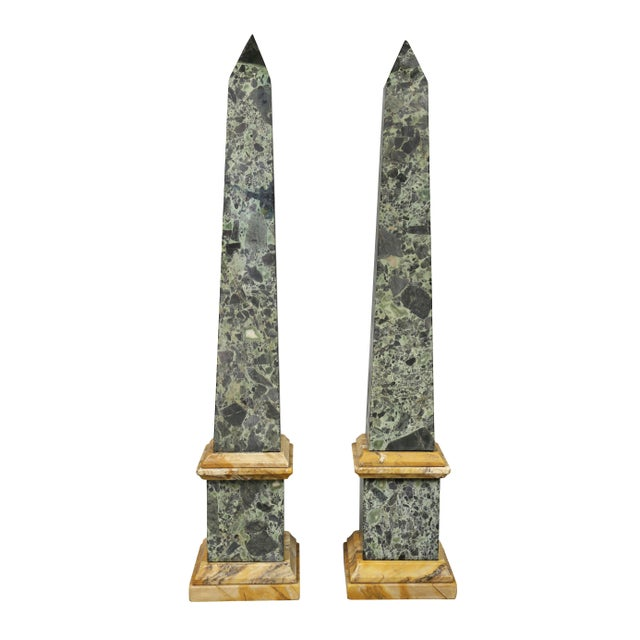 Pair of large Italian grand tour Verde Antico and Siena marble obelisks .Typical form with contrasting color.
