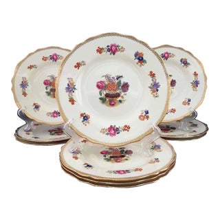 Spode Copelands for Davis Collamore Dresden Roses & Gold Luncheon Plates - Set of 10 For Sale