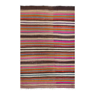 Vintage Turkish Bohemian Pink & Purple Striped Kilim Rug - 5' x 8'2""