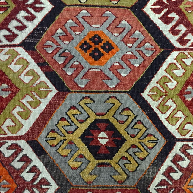 Semi-Antique c. 1940-1950 This hand-woven flatweave from Turkey's Aydin region is in great condition and the size is great...