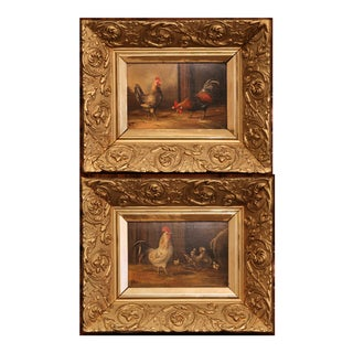 Pair of 19th Century French Oil Chicken Paintings on Board in Carved Frames Circa 1880