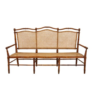 French Faux Bamboo and Cane Bench For Sale