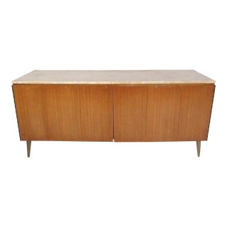 Vintage Modern Credenza With Travertine Top by Paul McCobb For Sale
