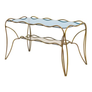 Unique Italian Brass and Colored Glass Cocktail Table, 1950s