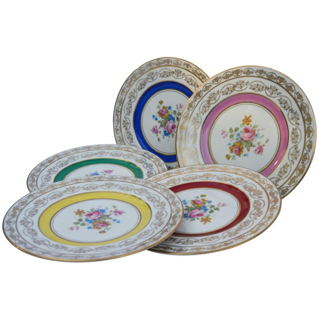 Vintage Colorful Porcelain Plates- S/5 For Sale - Image 4 of 8