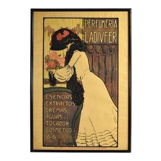 1903 Spanish Art Nouveau Advertising Poster Perfumeria Ladivfer For Sale