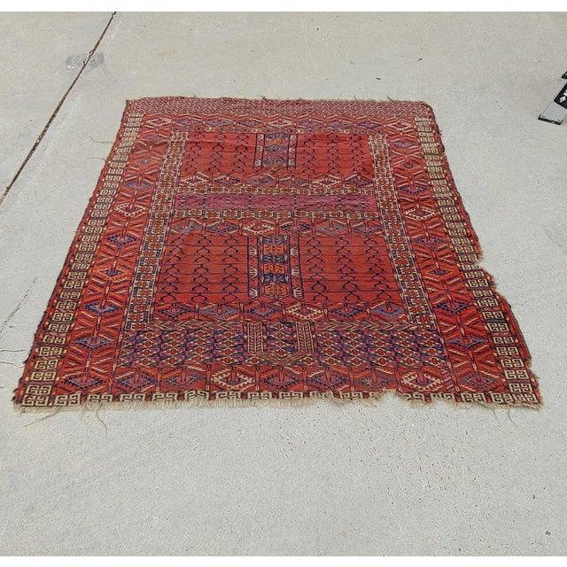"Afghan Vintage Turkoman Tekke Rug-3'11'x5"" For Sale - Image 3 of 12"