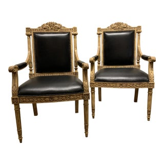 Black Leather Maitland Smith Bergere Chairs- a Pair For Sale