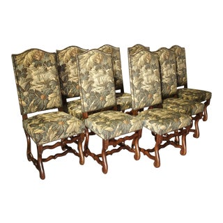 Set of 8 Pegged Oak and Tapestry Covered French Os De Mouton Dining Chairs For Sale