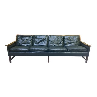 "Torbjorn Afdal ""Minerva"" Rosewood & Black Leather Sofa for Bruksbo For Sale"