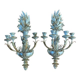 Vintage 1960s Italian Silver & Gold Gilt and Carved Wood Candle Sconces - a Pair For Sale