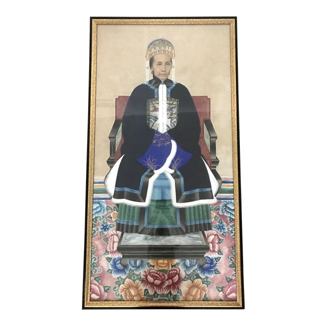 Large Antique Qing Dynasty Ancestor Painting of a Chinese Lady of Importance, Framed For Sale
