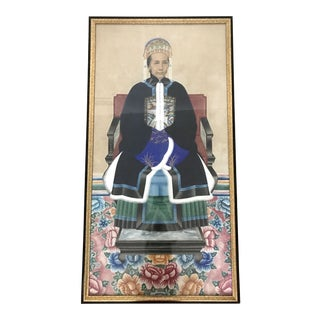 Large Antique Qing Dynasty Ancestor Painting of a Chinese Lady of Importance, the Matriarch For Sale