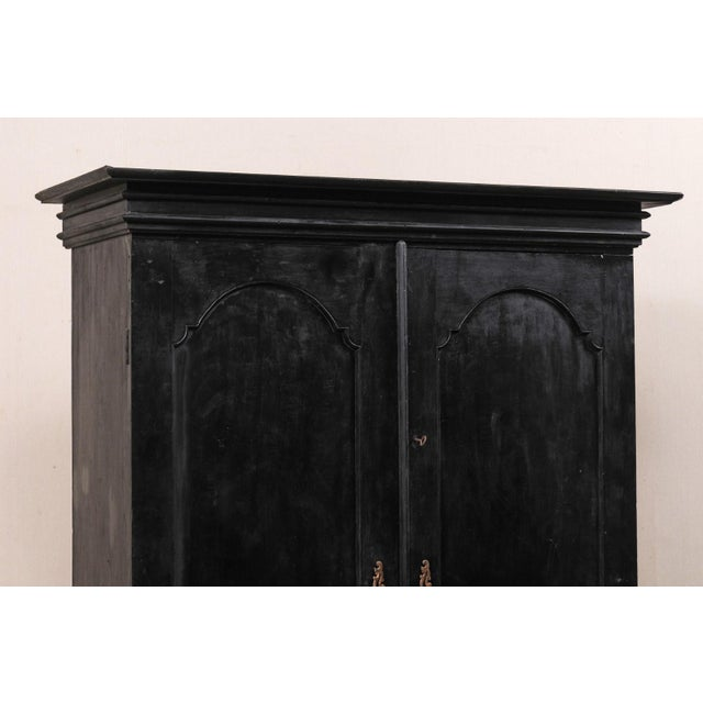 Mid 20th Century Tall Mid-20th Century British Colonial Ebonized Wood Cabinet For Sale - Image 5 of 12
