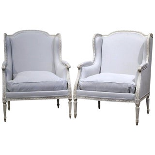 Pair of 19th Century French Louis XVI Carved and Blue Grey Painted Armchairs For Sale